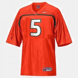 Football #5 Andre Johnson College Jersey Orange Youth(Kids) Miami Hurricane
