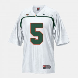 Youth(Kids) Football Andre Johnson College Jersey UM White #5