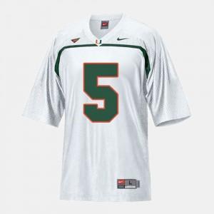 White Hurricanes Football Andre Johnson College Jersey Men's #5