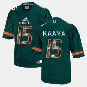 #15 Miami Hurricane Green Men Brad Kaaya College Jersey Player Pictorial