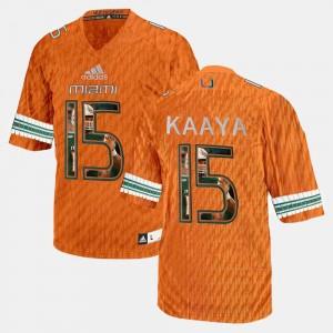 Player Pictorial Mens University of Miami Orange Brad Kaaya College Jersey #15