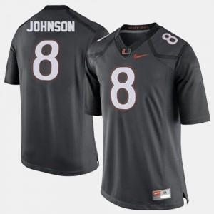 Football Gray Men Duke Johnson College Jersey #8 Miami Hurricane