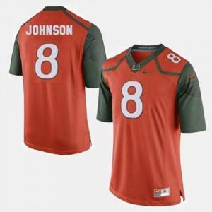 Duke Johnson College Jersey #8 Hurricanes Mens Football Orange