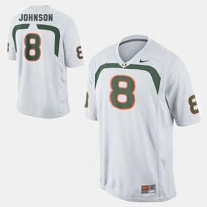 Men White #8 Duke Johnson College Jersey Football Miami