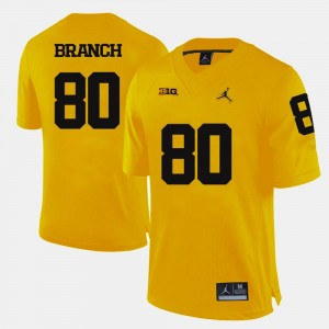 For Men's Alan Branch College Jersey Michigan Football Yellow #80