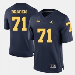 Wolverines For Men #71 Football Ben Braden College Jersey Navy Blue