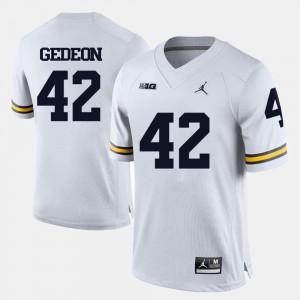 For Men's #42 Ben Gedeon College Jersey U of M Football White