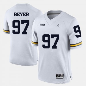 White #97 Men's Brennen Beyer College Jersey Michigan Football