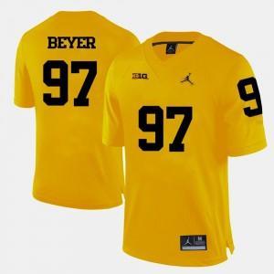 Men Football Brennen Beyer College Jersey Michigan Yellow #97