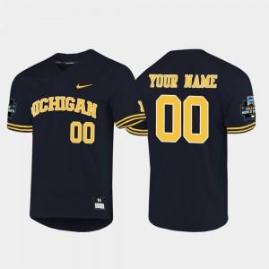 2019 NCAA Baseball World Series #00 Wolverines College Custom Jerseys Men's Navy