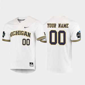 Wolverines White 2019 NCAA Baseball World Series College Custom Jerseys #00 Mens