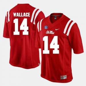 Red Mens Mike Wallace College Jersey Alumni Football Game #14 University of Mississippi