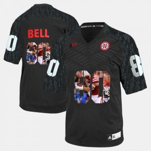Black Kenny Bell College Jersey #80 Player Pictorial University of Nebraska Men