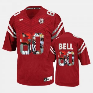 Player Pictorial Kenny Bell College Jersey #80 Red Nebraska For Men's