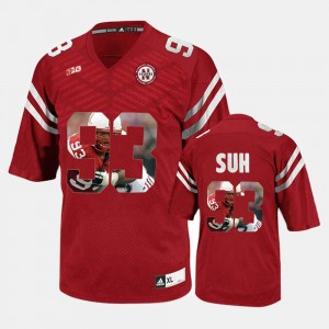 Player Pictorial Red Nebraska Cornhuskers #93 Ndamukong Suh College Jersey For Men