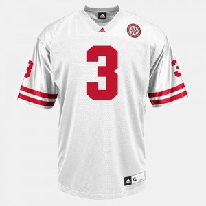 For Men's White Cornhuskers Football #3 Taylor Martinez College Jersey