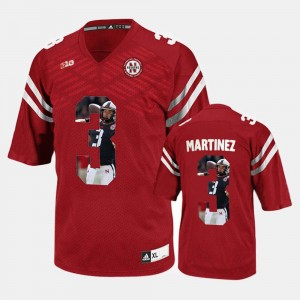 Mens #3 Player Pictorial Cornhuskers Red Taylor Martinez College Jersey