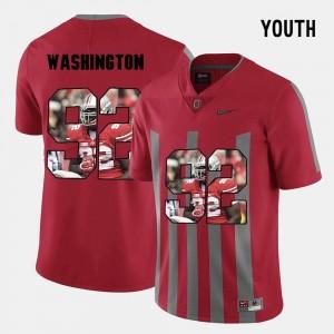 Adolphus Washington College Jersey Pictorial Fashion Kids Red #92 Ohio State