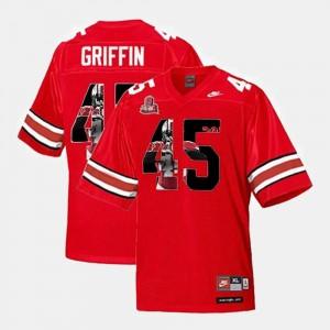 Men's #45 Buckeyes Throwback Scarlet Archie Griffin College Jersey