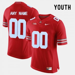 Ohio State Buckeyes #00 For Kids Limited Football Red College Custom Jersey