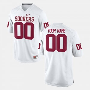 Football Mens #00 College Custom Jersey White OU Sooners