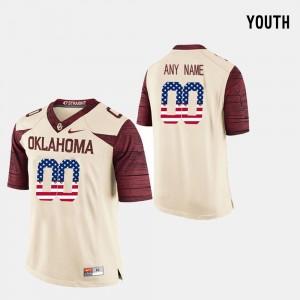Crimson Youth(Kids) OU #00 College Custom Jerseys US Flag Fashion