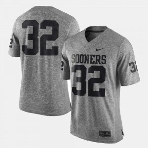 For Men's Gridiron Limited Gridiron Gray Limited College Jersey #32 Gray University Of Oklahoma