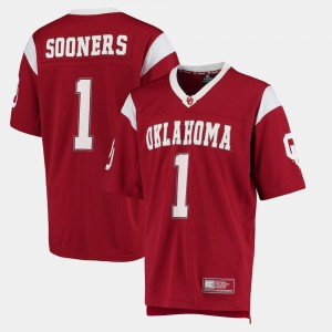 College Jersey Sooners #1 Crimson Hail Mary II For Men's