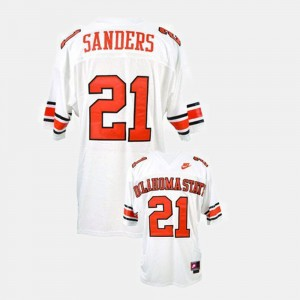 For Men #21 Oklahoma State Cowboys Football Barry Sanders College Jersey White