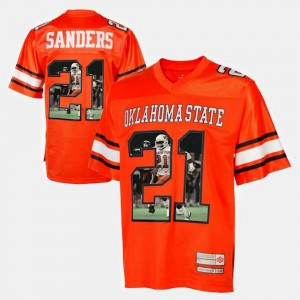 Orange #21 Oklahoma State Cowboys Barry Sanders College Jersey Men Player Pictorial