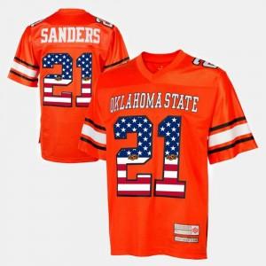 Barry Sanders College Jersey Throwback Orange For Men OSU Cowboys #21