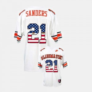 OSU For Men Barry Sanders College Jersey White Throwback #21