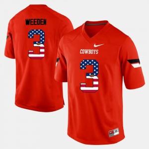 Brandon Weeden College Jersey #3 OSU Men US Flag Fashion Orange