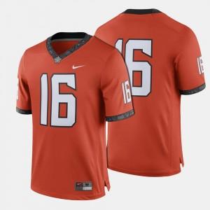 Orange Oklahoma State Cowboys Mens College Jersey #16 Football