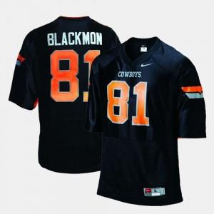 For Men's Oklahoma State Cowboys #81 Football Black Justin Blackmon College Jersey