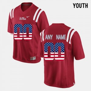 Red Youth(Kids) Ole Miss College Customized Jersey US Flag Fashion #00