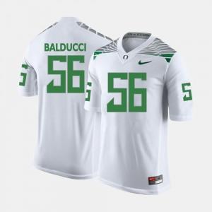 Mens Alex Balducci College Jersey White Oregon Football #56