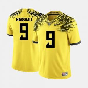 Football Yellow Byron Marshall College Jersey Men's #9 Oregon