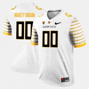 White Limited Football College Custom Jersey Mens #00 Oregon Ducks