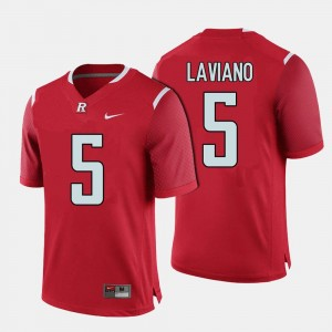 Rutgers Scarlet Knights Men #5 Chris Laviano College Jersey Football Red