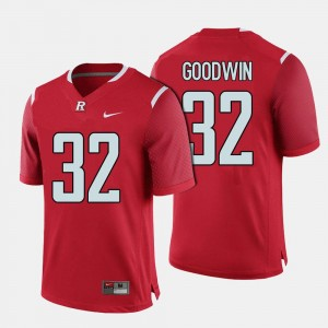 Football Rutgers #32 Mens Justin Goodwin College Jersey Red