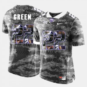Grey #22 TCU Horned Frogs Aaron Green College Jersey Mens High-School Pride Pictorial Limited