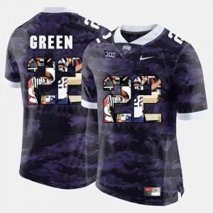 Texas Christian University High-School Pride Pictorial Limited Men's #22 Aaron Green College Jersey Purple