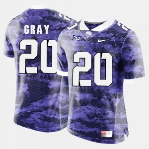#20 Purple For Men Football Texas Christian University Deante Gray College Jersey