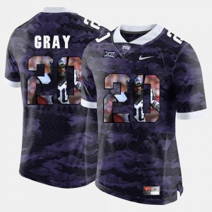 Mens Purple #20 Deante Gray College Jersey High-School Pride Pictorial Limited Horned Frogs