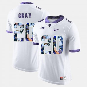Horned Frogs Mens #20 High-School Pride Pictorial Limited White Deante Gray College Jersey