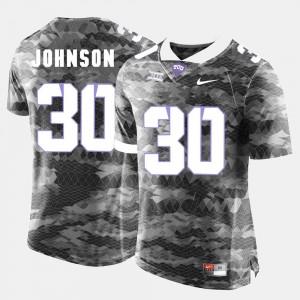 Football #30 Horned Frogs Grey Denzel Johnson College Jersey Men