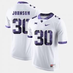 Denzel Johnson College Jersey #30 Mens White Texas Christian University Football