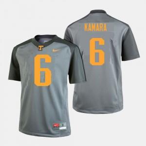 For Men's Tennessee Volunteers Alvin Kamara College Jersey #6 Football Gray