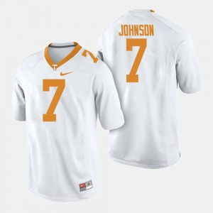 #7 Mens Brandon Johnson College Jersey University Of Tennessee White Football